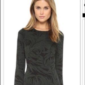 Club Monaco Leaf Printed Silk Long Sleeve Dress